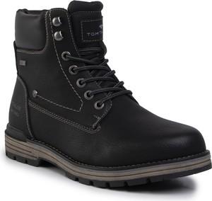 Czarne buty zimowe Tom Tailor sznurowane