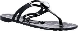 Czarne klapki Karl Lagerfeld z płaską podeszwą w sportowym stylu