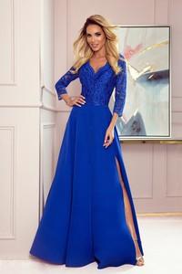 Niebieska sukienka NUMOCO z dekoltem w kształcie litery v maxi z długim rękawem