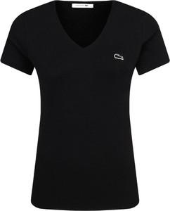 Czarny t-shirt Lacoste z dekoltem w kształcie litery v w stylu casual