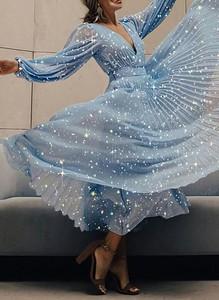 Niebieska sukienka Cikelly maxi z długim rękawem