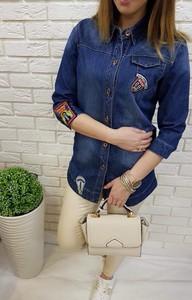 Niebieska koszula Fason z jeansu z długim rękawem