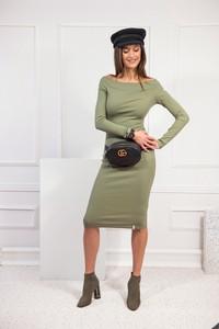 Zielona sukienka JOMU z długim rękawem w stylu casual hiszpanka