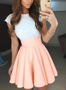 Różowa sukienka Cikelly z okrągłym dekoltem z krótkim rękawem mini