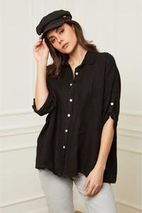 Czarna koszula Fleur De Lin w stylu casual