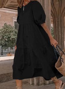 Czarna sukienka Arilook z długim rękawem midi z bawełny