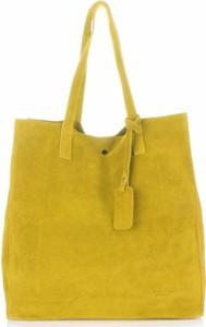 Pojemnie torebki skórzanej z wysokiej jakości zamszu naturalnego vittoria gotti żółte