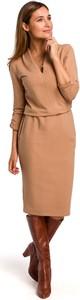 Sukienka Style midi z długim rękawem z bawełny