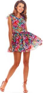 Sukienka Awama z okrągłym dekoltem mini