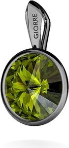 GIORRE SREBRNY WISIOREK SWAROVSKI RIVOLI 925 : Kolor kryształu SWAROVSKI - Olivine, Kolor pokrycia srebra - Pokrycie Czarnym Rodem