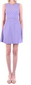 Fioletowa sukienka Elisabetta Franchi z okrągłym dekoltem mini bez rękawów