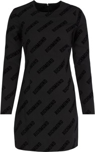 Czarna sukienka John Richmond z okrągłym dekoltem z długim rękawem trapezowa