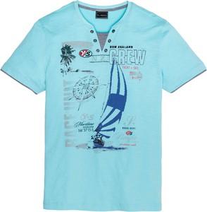 Miętowy t-shirt bonprix bpc selection z krótkim rękawem w młodzieżowym stylu