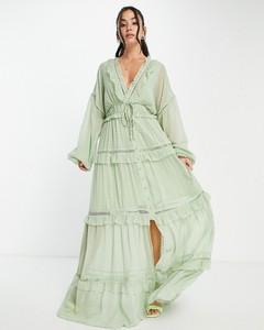 Sukienka Asos z długim rękawem w stylu casual z żakardu