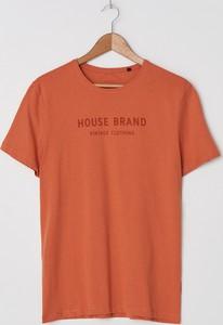 Pomarańczowy t-shirt House z krótkim rękawem z nadrukiem