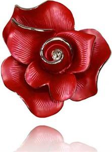 POLSKA Ekskluzywna broszka w kształcie róży czerwona