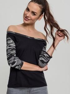 Czarna bluzka Urban Classics z bawełny w młodzieżowym stylu z długim rękawem
