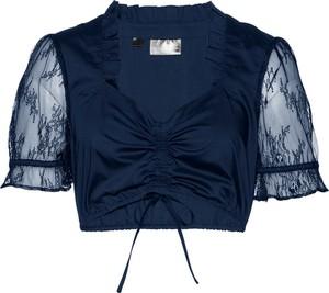 Granatowa bluzka bonprix bpc selection premium z krótkim rękawem w stylu etno