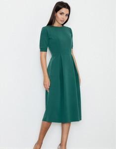 Zielona sukienka Figl midi z krótkim rękawem