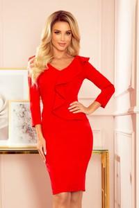 Czerwona sukienka NUMOCO z dekoltem w kształcie litery v midi