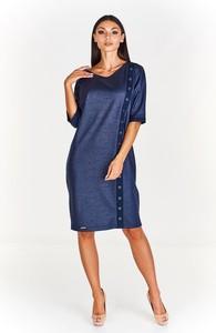 Niebieska sukienka Fokus oversize midi z krótkim rękawem