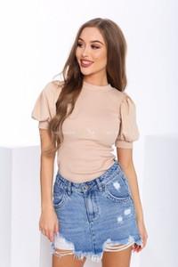 Brązowa bluzka Tmc Moda z krótkim rękawem w stylu casual