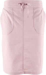 Różowa spódnica bonprix bpc bonprix collection z lnu