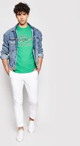 Niebieski t-shirt Lacoste z krótkim rękawem