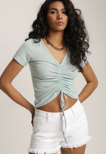Bluzka Renee z krótkim rękawem z dekoltem w kształcie litery v w stylu casual