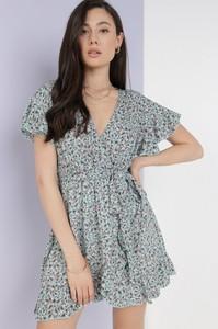 Niebieska sukienka born2be z krótkim rękawem w stylu casual mini