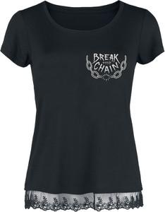 Czarna bluzka Emp z krótkim rękawem z okrągłym dekoltem