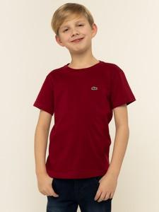 Czerwona koszulka dziecięca Lacoste z krótkim rękawem