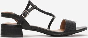 Czarne sandały Multu ze skóry na niskim obcasie na obcasie