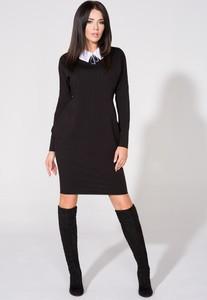 Czarna sukienka Tessita mini z kołnierzykiem