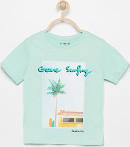 Turkusowa koszulka dziecięca Reserved z krótkim rękawem
