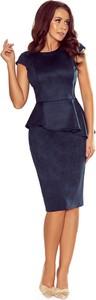 Niebieska sukienka Moda Dla Ciebie z okrągłym dekoltem z zamszu midi