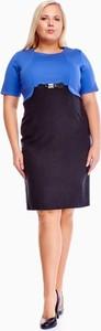 Granatowa sukienka Fokus z okrągłym dekoltem z krótkim rękawem dla puszystych