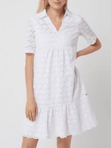 Sukienka Betty & Co White z bawełny z krótkim rękawem
