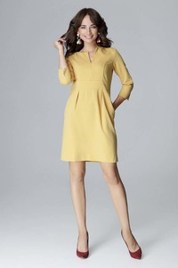 Żółta sukienka Katrus z długim rękawem