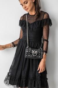 Czarna sukienka Fashion Manufacturer z długim rękawem mini z tiulu