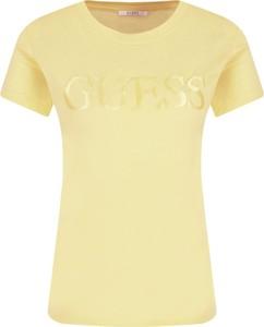 Żółty t-shirt Guess Jeans w stylu casual