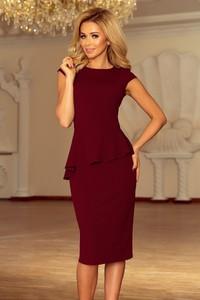 Czerwona sukienka NUMOCO midi wyszczuplająca z krótkim rękawem