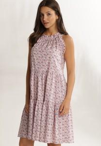 Różowa sukienka Renee bez rękawów mini z okrągłym dekoltem