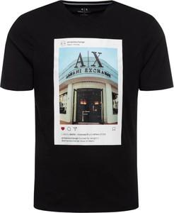 Czarny t-shirt Armani Jeans z krótkim rękawem z nadrukiem