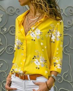 Żółta koszula Kendallme z długim rękawem