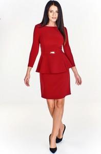 Czerwona sukienka Monariss midi baskinka
