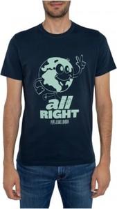 Niebieski t-shirt Pepe Jeans z bawełny z krótkim rękawem