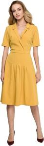 Żółta sukienka Style koszulowa midi