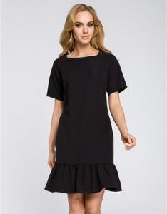 Czarna sukienka MOE z krótkim rękawem mini