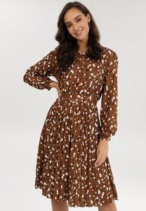 Brązowa sukienka born2be mini z długim rękawem